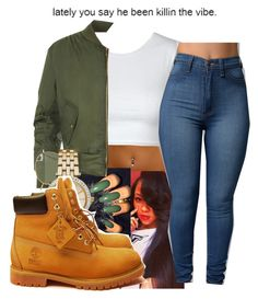 """""""Left Hand Is Stirring The Other Is Gripping Your Thigh"""" by dericka2700 ❤ liked on Polyvore featuring WearAll, Ray-Ban, Michael Kors and Timberland"""