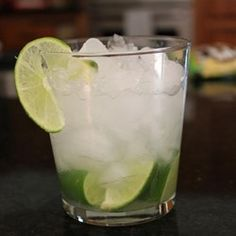 Lime and cachaca (Brazilian sugar cane brandy), lightly sweetened. A refreshing and delicious cocktail.