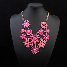 Collar de Declaración, resina, con aleación de zinc, con 5cm extender cadena, Flor