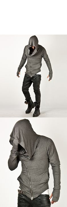 Unbeatable Arm Warmer Diagonal Zip Up Hoodie Charcoal - Jackets | RebelsMarket