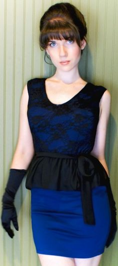Royal blue & black mini dress with lace detail and black evening gloves