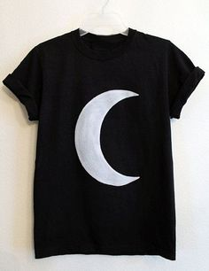 simple moon tee| $8.47 nu goth pastel goth creepy cute pastel grunge goth fachin moon space tshirt top under10 under20 under30 sammydress