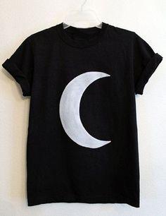 Manga curta Casual em torno do pescoço da lua impressão T-shirt para as Mulheres