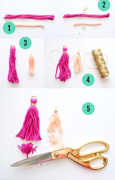Last week I shared a tutorial for making a notebook out of paint chips with some cute handmade tassels attached. In that post I promised a tassel tutorial for making your own tassels and here it is! Below you will find a step by step DIY for making tassels out of embroidery thread or crochet thread…