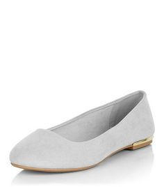 Wide Fit Grey Suedette Metal Trim Ballet Pumps