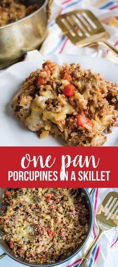 Easy dinner ideas - my favorite type! Make this Porcupines in a Skillet and everyone in your family will be happy. One pan meals are the ultimate. www.thirtyhandmadedays.com