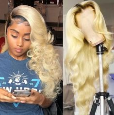 Wig Styles, Curly Hair Styles, Natural Hair Styles, Ombre Blond, Blonde Wig, Body Wave Wig, Wig Hairstyles, Frontal Hairstyles, Latest Hairstyles