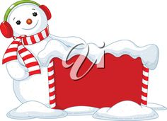 iCLIPART - Royalty Free Clipart Image of a Snowman Beside a Sign