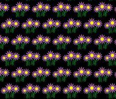 Danita's Purple Flowers on Black fabric by midcoast_miscellany on Spoonflower - custom fabric