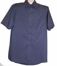 VanHeusen Navy Blue Satin Stripe Men Button Up Shirt Size 15.5 Half Sleeve