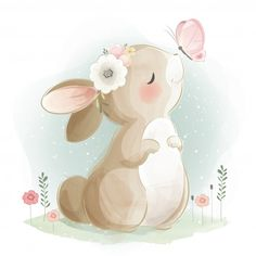 Cute little bunny flying with an air Милый маленький зайчик, летящий с воздушным… Cute little bunny flying with air …- # air # flying - Bunny Drawing, Bunny Art, Drawing Art, Baby Animal Drawings, Cute Drawings, Horse Drawings, Lapin Art, Art Mignon, Cute Animal Illustration