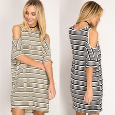 Love how simply adorable these dresses are!! {Striped Cold Shoulder Shift Dress $33.50} Comment below with PayPal to purchase and ship or comment for 24 hour hold #repurposeboutique#shoprepurpose#boutiquelove#style#trendy#musthaves#obsessed#fashion#dress#coldshoulder#stripes