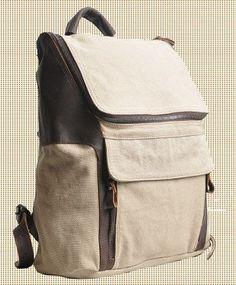 BACKPACK Superior Genuine Cow Leather Men's leather canvas Bag/ leather canvas Briefcase / Messenger bag / Laptop bag  (1333)
