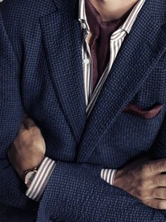 Smart casual. Layered Blue/Burgundy. Layered patterns. Burgundy highlight. Ermenegildo Zegna