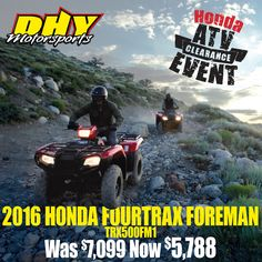 #Honda #ATV #Clearance Event now going on at #DHYMotorsports Save thousands on a hard working Fourtrax Foreman 4x4! Get more info here: http://bit.ly/ATVclear