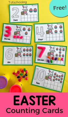 FREE counting cards with an Easter theme. Use playdough or candy such as jelly beans to fill in the ten frames and trace the number on each card. Great Easter math activity for preschool! Easter Activities For Preschool, April Preschool, Spring Activities, Holiday Activities, Kindergarten Activities, Preschool Education, Preschool Director, Calendar Activities, Kindergarten Freebies