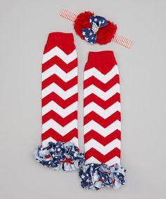 Loving this Red & White Chevron Leg Warmers & Flower Headband on #zulily! #zulilyfinds