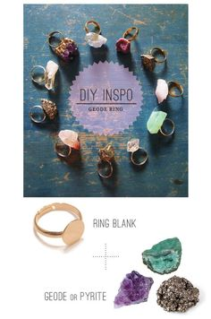 Jewelry Making Easy Geode Ring - The only thing better than a handmade present is a handmade present that you can whip up in no time. Diy Geode Rings, Diy Crystal Rings, Crystal Jewelry, Gemstone Rings, Do It Yourself Jewelry, Bijoux Diy, Diy Accessories, Diy Christmas Gifts, Holiday Gifts