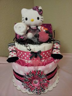 Modern HELLO KITTY  diaper cake by diapercake4less on Etsy, $53.00