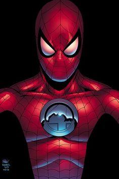 #Spiderman #Fan #Art. (Spider-Man Fantastic Four #2 Cover) By: Mike Wieringo. (THE * 5 * STÅR * ÅWARD * OF: * AW YEAH, IT'S MAJOR ÅWESOMENESS!!!™)[THANK Ü 4 PINNING!!!<·><]<©>ÅÅÅ+(OB4E)   https://s-media-cache-ak0.pinimg.com/564x/6a/86/be/6a86be1fb90f3d076548732a23ac749d.jpg