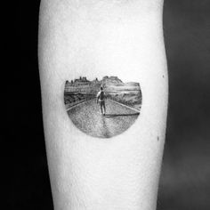 on the road tattoo dotwork Amanda Piejak #LandscapeTattoo