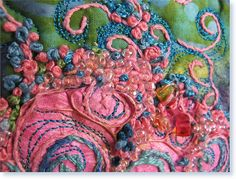 Explore textile by Erica, using tyvek, (pink painted area) beasing, free machine & hand embroidery.