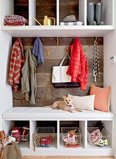 Creating a drop-zone inside the door can be tricky if your home doesn't have a designated foyer or mudroom, but with the right storage strategies, a sliver of wall space is enough to contain these basics. #entryway #entrywaydecor #smallentryway #entrywaywall #bhg Entryway Closet, Entryway Storage, Cubby Storage, Living Room Storage, Storage Spaces, Storage Area, Closet Mudroom, Front Closet, Entryway Ideas