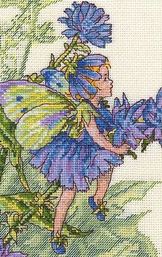 Cross stitch - fairies: Chicory fairy - Cicely Mary Barkert (free pattern with chart)