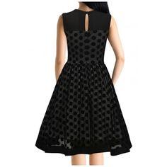 Retro Style Polka Dot Chiffon Panel Sleeveless Mesh Midi Swing Dress (140 ILS) ❤ liked on Polyvore featuring dresses, sleeveless a line dress, chiffon midi dress, sleeveless swing dress, polka dot dress and retro swing dress