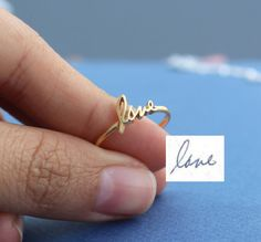Actual Signature Ring  - Name Ring - Minimalist Jewelry - Sterling Silver / 18K Gold Plated / White Gold Plated $35.00