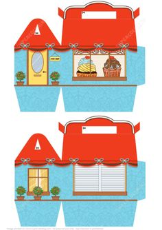 Gift Box Template with Cupcakes in a House Paper craft
