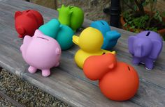 Funky Safari Animals Money Box Piggy Bank Gift Duck Whale Hippo Cow Elephant | eBay