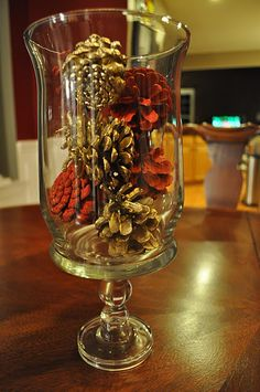Such an easy way to decorate! You can glasses like this at Christmas tree shop for a few dollars!