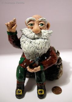 The Old Gnome Polymer Clay Figurine by anastasiacrafts on Etsy