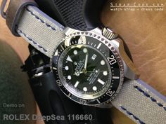 Rolex Deep Sea 116660 on 22mm MiLTAT Military Grey Leather Washed Canvas Ammo Watch Strap in Blue Stitches [22E22BBU55C2H02]