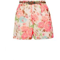 Parisian Pink Floral Print Belted Shorts (34 BRL) ❤ liked on Polyvore featuring shorts, short, belted shorts, floral print shorts, pink short shorts, flower print shorts and short shorts