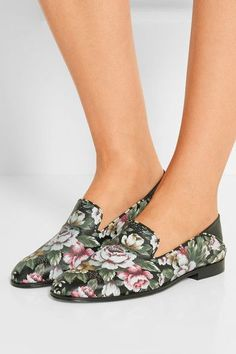 Alexander McQueen - Floral-print Leather Loafers - Black - IT35.5