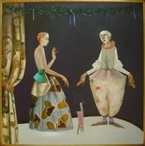 Puppeteer and White Clown - Stefan Caltia 2004 Girls With Flowers, Magic Realism, Art Database, The Little Mermaid, Black Backgrounds, Puppets, Modern Art, Symbols, Christmas Ornaments