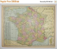 1900 France Map, Spain Map, Vintage Art Map, France Gift for Her, Housewarming Gift for Couple, Antique Map France, Gift for Teacher available from OldMapsandPrints.Etsy.com #FranceMap #SpainMap #PortugalMap