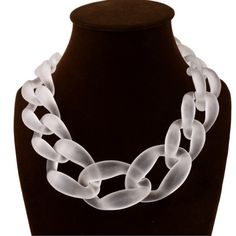 """Acrylic Chunky Chain Link Necklace  Chunky but lightweight. Very fashion forward. Gold plated clasp lock. Approximately 16"""" in length. NWOT. Never worn. ❌No trades or paypal ❌ Jewelry Necklaces"""