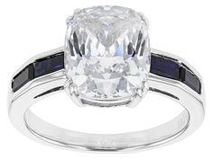 Bella Luce (R) 7.15ctw White Diamond & Sapphire Simulants Rhodium Over Sterling Silver Ring