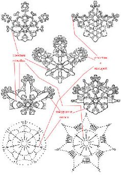 Crochet snowflake diagrams. Looks fiddly but I will have to give this a go.