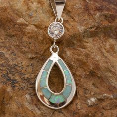 David Rosales Amazing Light Inlaid Sterling Silver Pendant w/ Crystal
