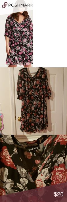 68293e0ef83 Flowered shirt dress from torrid Button down shirt dress with red pink and  grey Rose s on black very cute!