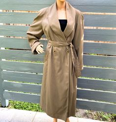 Excited to share this item from my #etsy shop: Sz 12 80s Khaki Long Overcoat by Gallery Shawl Collar Padded Shoulder Tie Belt Pockets Vintage Traditional Classic Elegant 40s Style