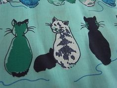 Hand Printed Fabric  Cheeky Cats Blue Sky  Half Yard by EmilyMe, $10.50