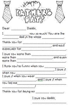Father's Day Mad Lib... too cute, @Melinda Walker you could print on good paper and have all boys fill it out!!