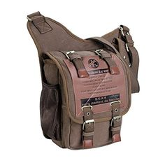 Koolertron Vintage Mens Canvas Backpack Bicycle Bag Womens Shoulder Sling Chest Military Leather Patchwork Ipad Bag Messenger BagKhaki *** Check this awesome product by going to the link at the image.