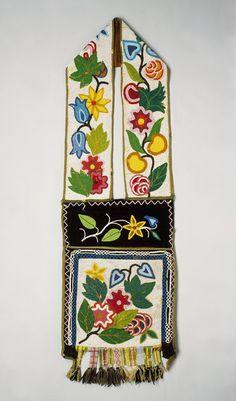 A Fine Woodlands Native American Ojibwa Beaded Bandoleer Bag. Glass beads, tradecloth, canvas and wool thread. Circa 1900 – 1910