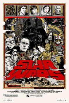 """Affiche originale Mondo """"Star-Wars"""" par Tyler Stout (12/31/10) numérotée, Taille 24""""x36"""" Regular edition, Screenprint, limité à 850 exemplaires au monde.@asgalerie #asgalerie #mondo #tylerstout #starwars #newhope."""